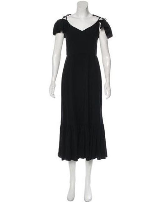 Staud - Black Jersey Ruffle Dress - Lyst