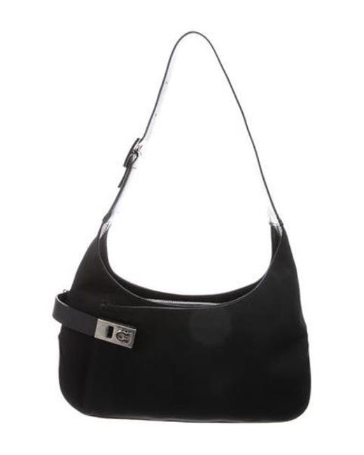 f20990b0836 Ferragamo - Metallic Canvas Gancio Shoulder Bag Black - Lyst ...