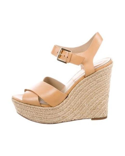 3965ba870199 Michael Kors - Natural Leather Wedge Sandals Tan - Lyst ...