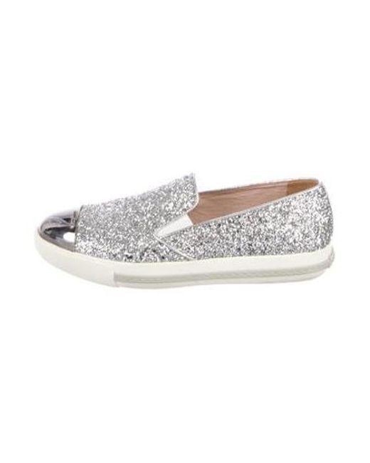 7d7f28669de3 Miu Miu - Metallic Miu Glitter Cap-toe Slip-on Sneakers Silver - Lyst ...