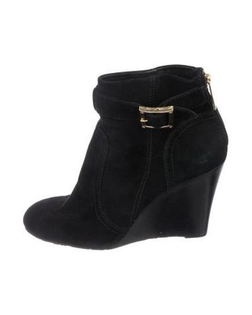 59ac334f966b Tory Burch - Black Suede Wedge Boots - Lyst ...