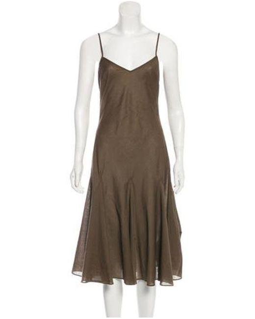461a663e75eb8 Diane von Furstenberg - Green Silk Midi Dress Olive - Lyst ...