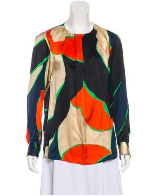 2f513ec347348 Dries Van Noten - Natural Silk Printed Blouse Tan - Lyst ...