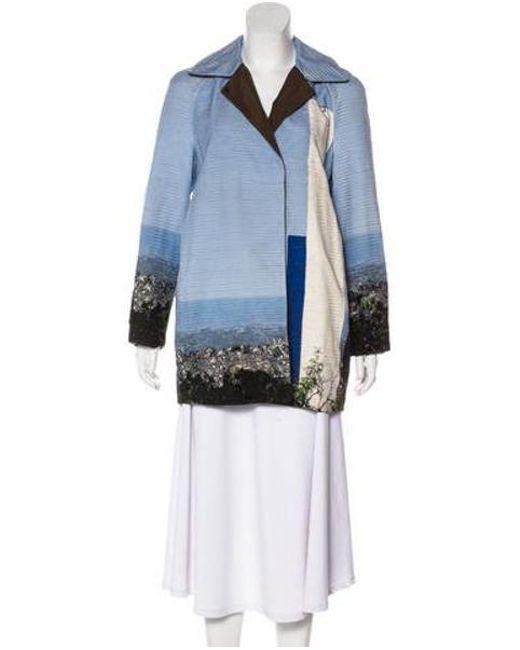 5422abf1860 Akris - Blue Reversible Silk Coat W/ Tags - Lyst ...