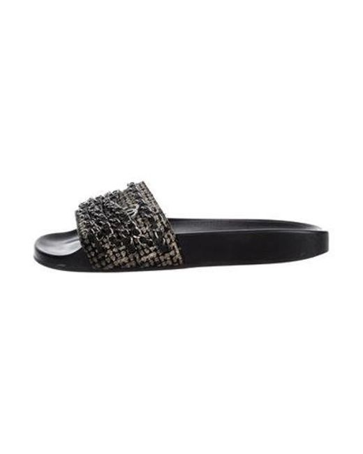 d7f5468871b9e Chanel - Metallic 2016 Chain-link Tweed Sandals Black - Lyst ...
