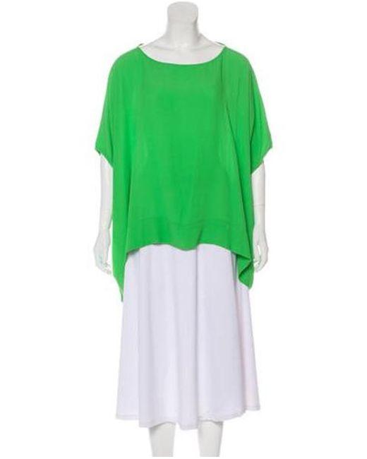 59e81d6ee730b Diane von Furstenberg - Green Short Sleeve Oversize Top - Lyst ...