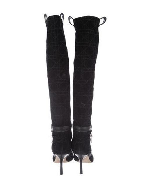 2698ab7d943 ... Dior - Metallic Quilted Knee-high Boots Black - Lyst