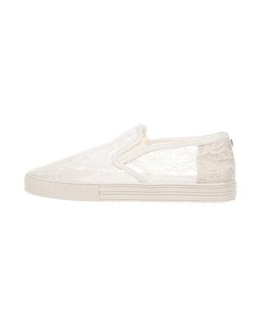 a0abf2326d27 Stuart Weitzman - Natural Lace Slip-on Sneakers Neutrals - Lyst ...