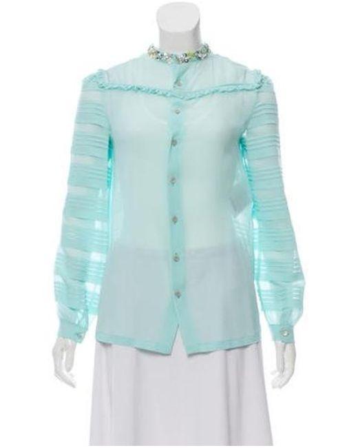 cda4eda8e50f Miu Miu - Blue Miu 2017 Silk Button-up Top W  Tags - Lyst ...