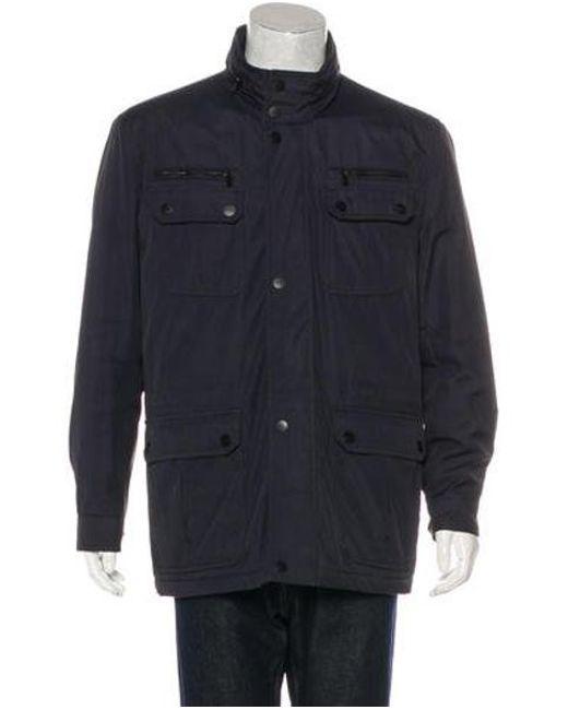Lyst Michael Kors Woven Field Jacket Navy In Blue For Men
