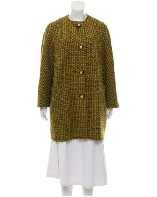 Michael Kors - Yellow Houndstooth Wool Coat Green - Lyst ... 76abeea67