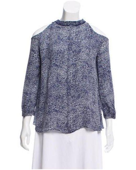 bb9a778e001367 10 Crosby Derek Lam - Blue Cold-shoulder Printed Silk Top - Lyst ...