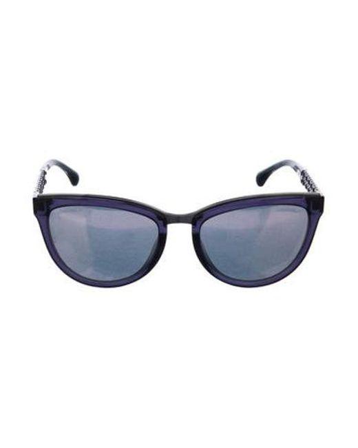 f18c70a725a Chanel - Metallic Cat-eye Winter Sunglasses Navy - Lyst ...
