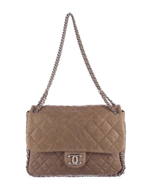 Chanel - Metallic Chain Around Maxi Flap Bag Silver - Lyst