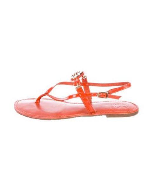 f564468bfc2ac Tory Burch - Metallic Patent Leather Logo Sandals Orange - Lyst ...