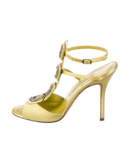 773e7ca07cd Manolo Blahnik - Yellow Embellished Satin Sandals - Lyst ...