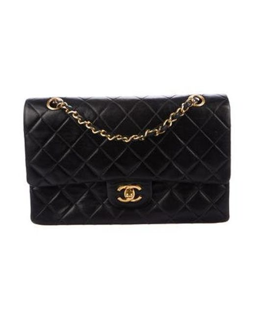 db65e0c54a52 Chanel - Metallic Vintage Classic Medium Double Flap Bag Black - Lyst ...