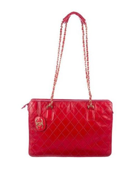 Chanel - Metallic Lambskin Quilted Vintage Shoulder Bag Red - Lyst ... ecb88bc453030