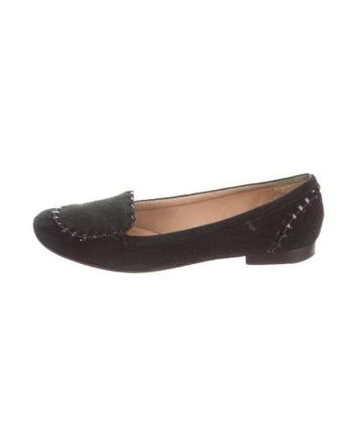 3acb1ae6e85 Kate Spade - Black Suede Square-toe Loafers - Lyst ...