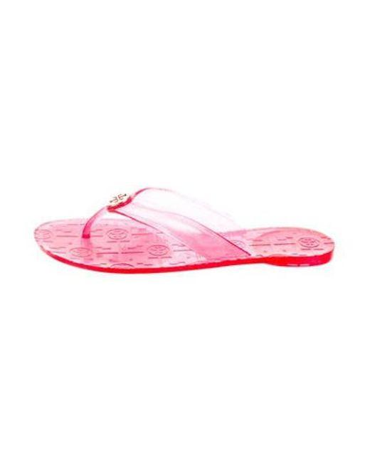 cc9f8a523 Lyst - Tory Burch Glitter Rubber Sandals Pink in Metallic - Save 40.0%