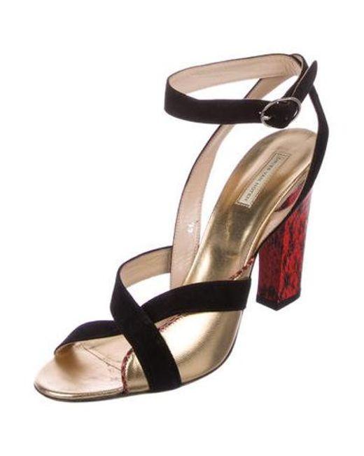 24eced1b087 ... Dries Van Noten - Metallic Snakeskin-trimmed Crossover Sandals Black -  Lyst ...