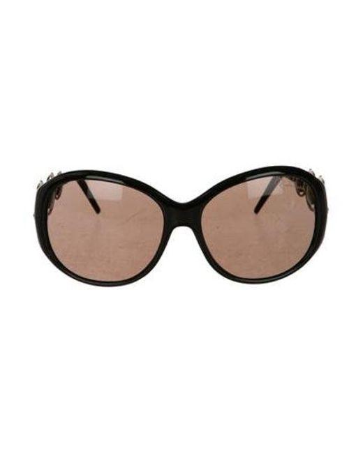 317428efe1 Roberto Cavalli - Metallic Round Tinted Sunglasses Black - Lyst ...