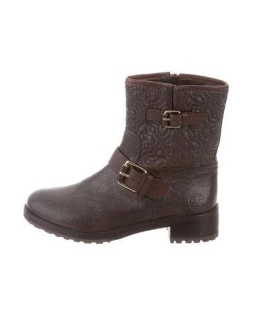 c23debed2970 Tory Burch - Brown Embrodiered Mid-calf Boots - Lyst ...