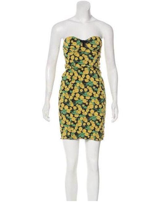 133badce90a7 Lanvin - Yellow Strapless Mini Dress - Lyst ...