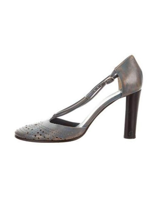 011c601755a7 CoSTUME NATIONAL - Blue Distressed Leather Pumps - Lyst ...