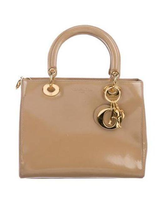e887c878778d Dior - Metallic Vintage Medium Lady Handle Bag Tan - Lyst ...