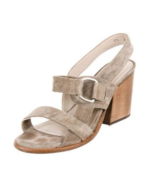 9be59fd1322 ... Robert Clergerie - Gray Suede Ankle Strap Sandals Grey - Lyst ...