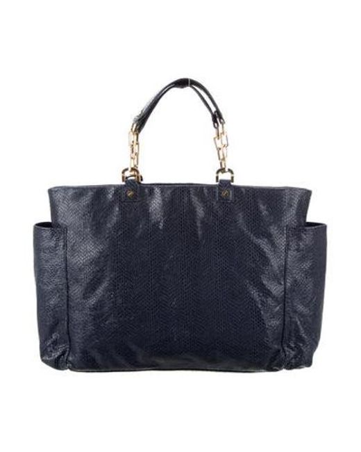 bab4d32d8fdc Tory Burch - Metallic Embossed Leather Tote Blue - Lyst ...