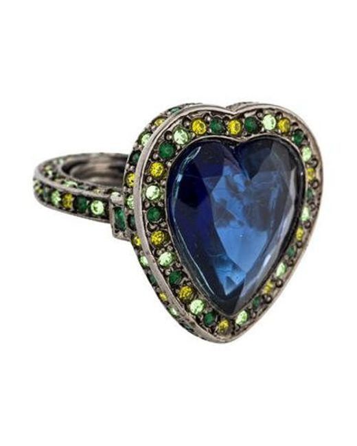 Kenneth Jay Lane - Metallic Crystal Heart Cocktail Ring Silver - Lyst