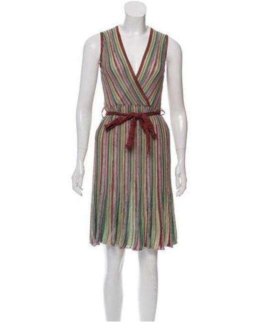 2b43bd1f2f M Missoni - Knitted Sleeveless Dress Multicolor - Lyst ...