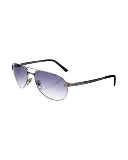 56796a8c6f ... Cartier - Metallic Santos-dumont Tinted Sunglasses Silver - Lyst ...