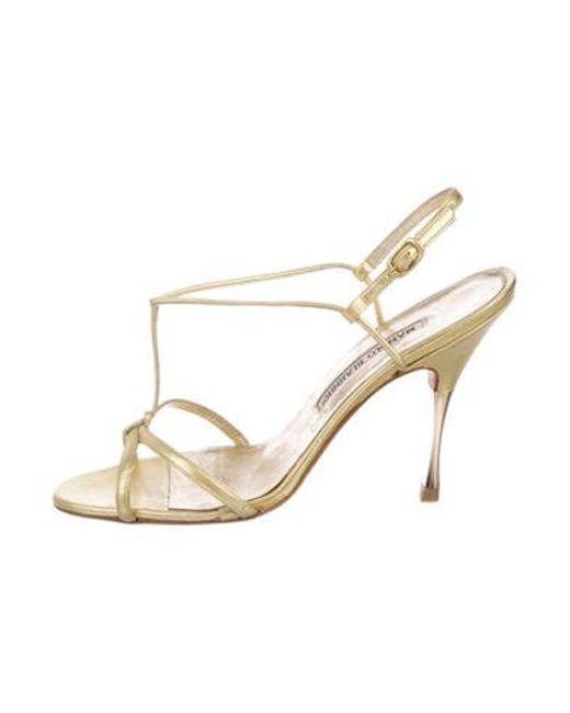 d767de00944 Manolo Blahnik - Metallic Leather Ankle Strap Sandals Gold - Lyst ...