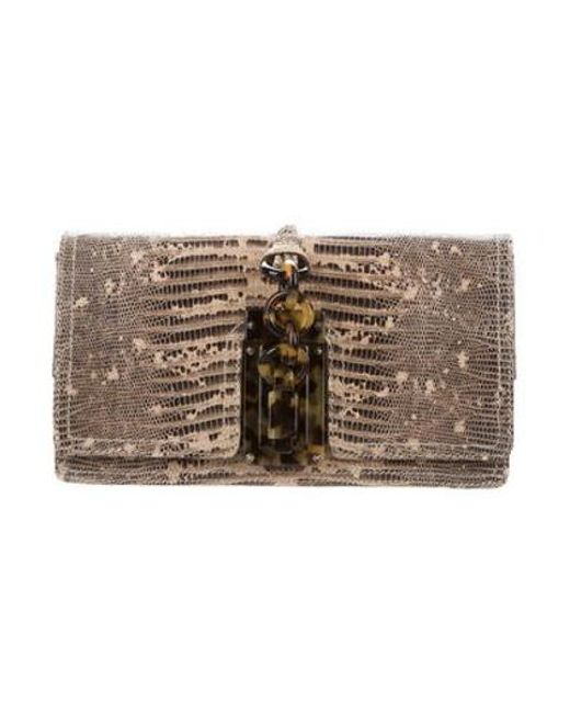 Bottega Veneta - Natural Lizard Flap Clutch Brown - Lyst ... 76d0339c6b
