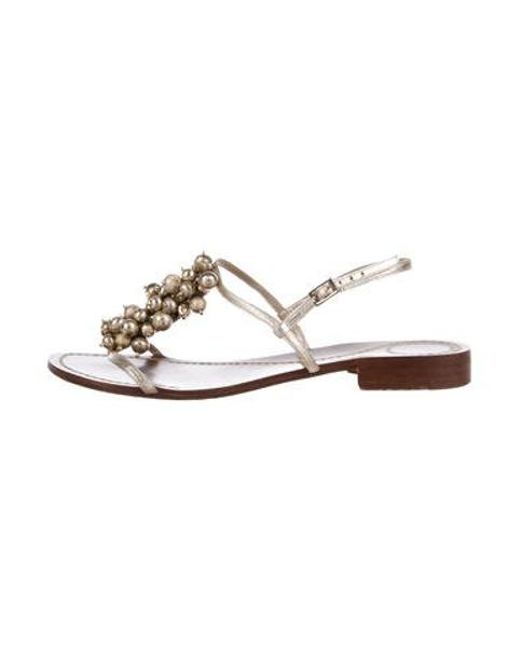 d4c534f7dcc1 Kate Spade - Metallic Embellished Sandals Gold - Lyst ...