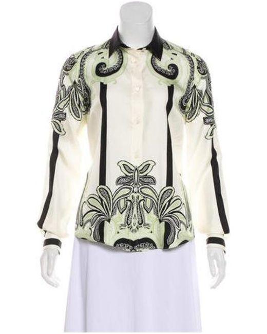 b7d51ecf079215 Etro - Green Silk Printed Long Sleeve Top - Lyst ...