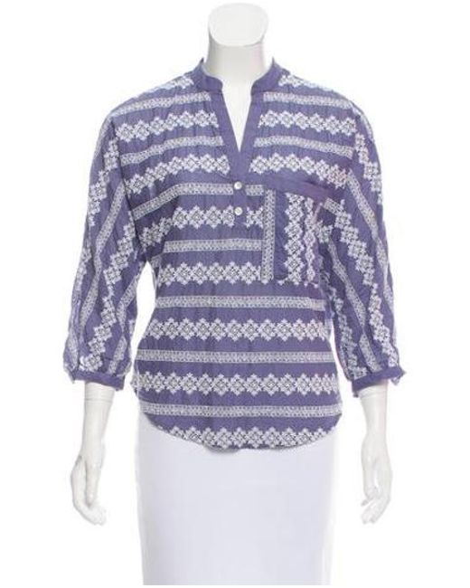 Band of Outsiders - Blue Embroidered Long Sleeve Top - Lyst