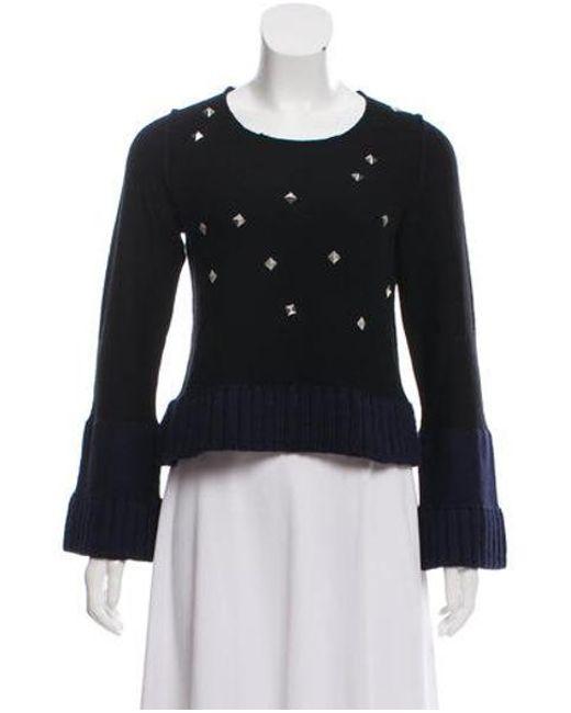 Sonia by Sonia Rykiel - Blue Sonia By Rykiel Wool Embellished Knit Sweater - Lyst