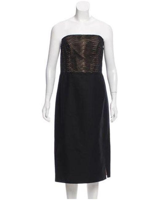 Lyst Akris Strapless Knee Length Dress Black In Natural