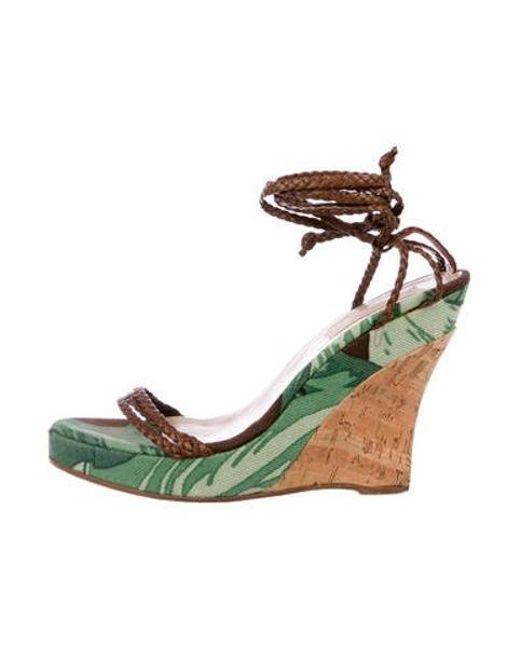 e62f21b8f550 Michael Kors - Natural Canvas Wedge Sandals Green - Lyst ...