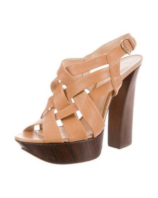 de66289ecf ... Casadei - Natural Leather Platform Sandals Tan - Lyst ...