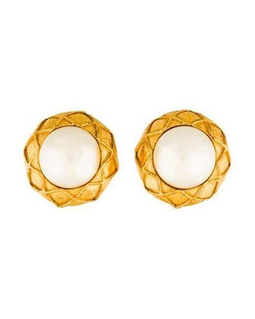 Chanel - Metallic Faux Pearl Clip-on Earrings Gold - Lyst