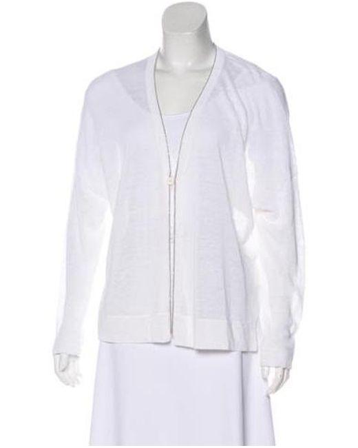 c41efd120e Brunello Cucinelli - Metallic Knit Embellished Cardigan White - Lyst ...