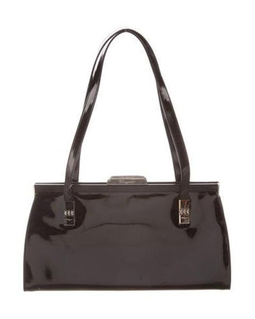 9e948782ca8 Ferragamo - Metallic Patent Leather Shoulder Bag Black - Lyst ...