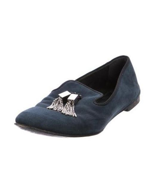 9dc84708cd9 ... Giuseppe Zanotti - Blue Suede Embellished Loafers - Lyst ...