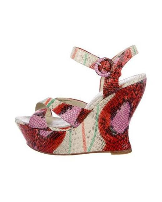 5c8f80b3ded Alice + Olivia - Red Juliet Wedge Sandals Multicolor - Lyst ...