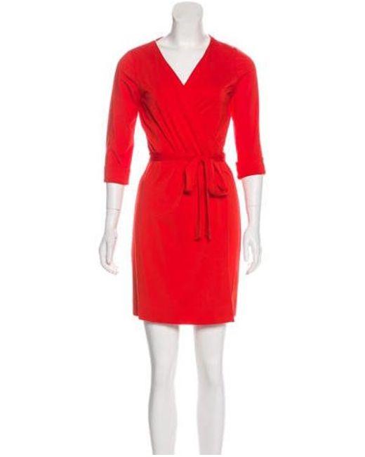 051f07f3a743 Lyst - Diane Von Furstenberg New Julian Two Mini Wrap Dress in Red ...